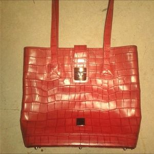 Dooney and Burke red leather large tote bag/purse